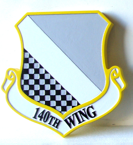 LP-2080 - Carved Shield Plaque of the Crest of the 140th Fighter Wing, Artist Painted