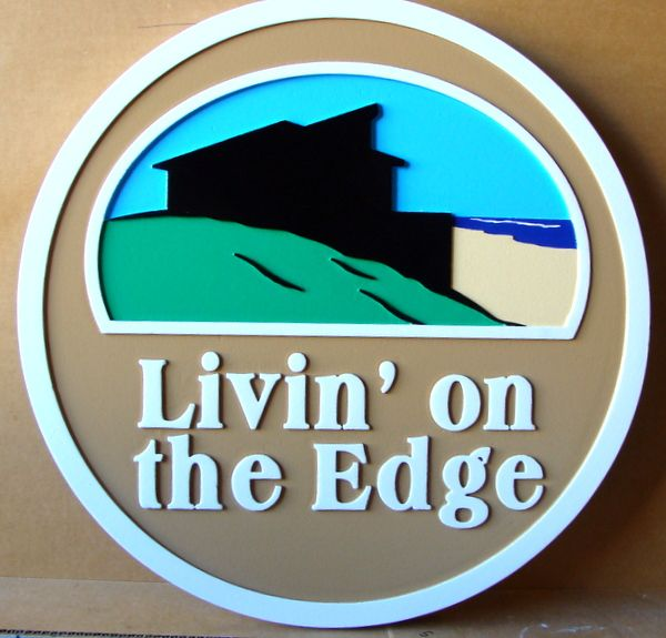 """L21926 – Carved 2.5-D HDU Beach House Sign """"Living on the Edge"""", Profile of House and Beach"""