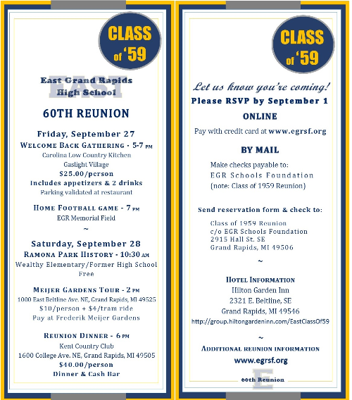 Class of 1959 - 60th Reunion Reservation