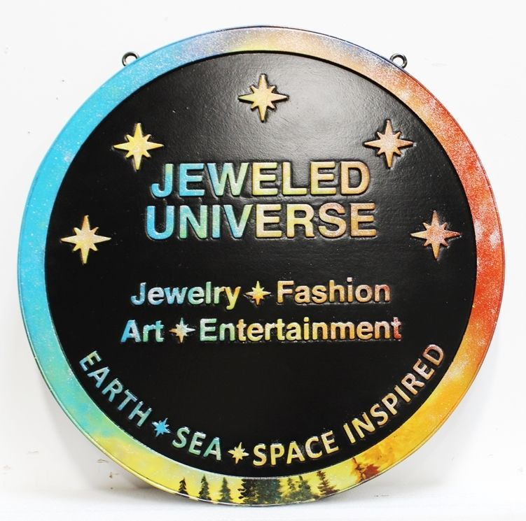 VP-1505 - Carved 2.5-D Raised Relief HDU Plaque of the Logo for the Jeweled Universe Store