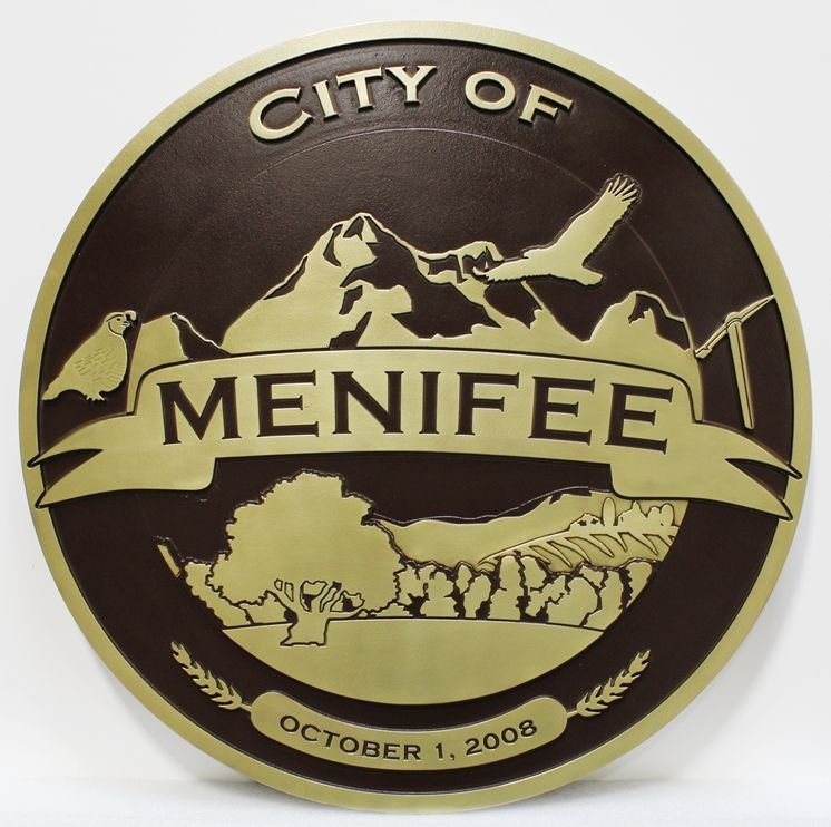 DP-1642 - Carved Plaque of the Seal of the City of Menifee, 2.5-D Bronze-Plated