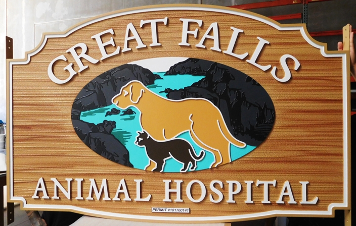 BB11721 - Carved and Sandblasted HDU  Entrance Sign for the Great Falls Animal Hospital, with Profiles of a Dog and Cat