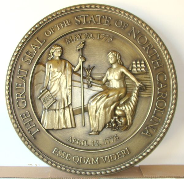 M7122 - Brass  3D Wall Plaque of the Great Seal of North Carolina