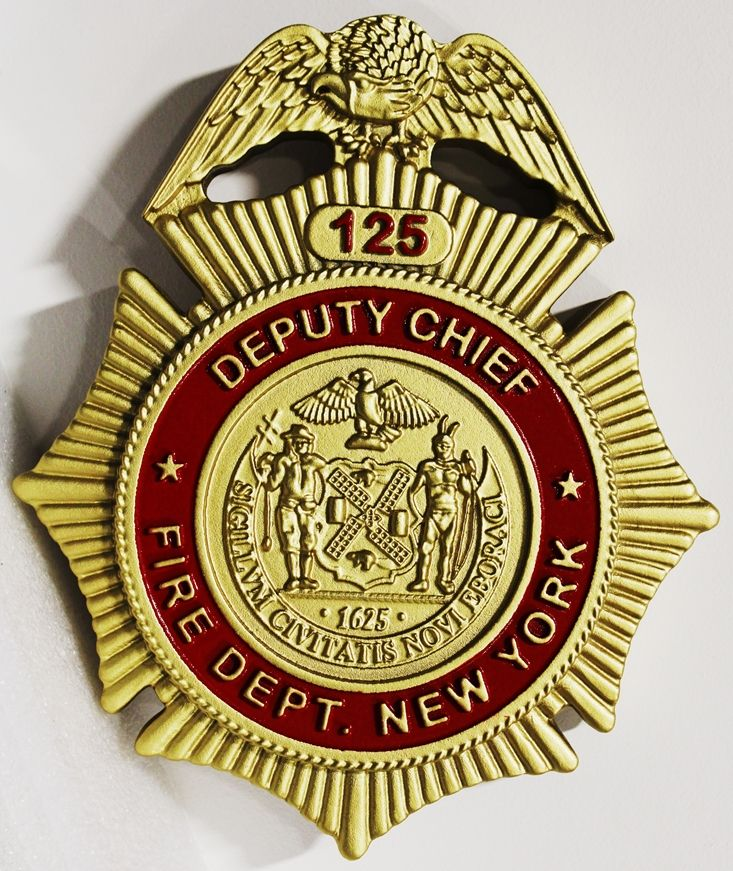 QP-1050 - Carved plaque of the Badge of the Deputy Chief of the New York City Fire Department, 3-D Artist-Painted