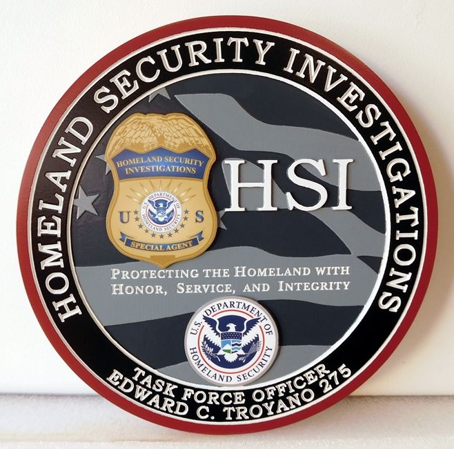 AP-4150 - Carved Plaque for  Homeland Security Investigationsm Artist Painted