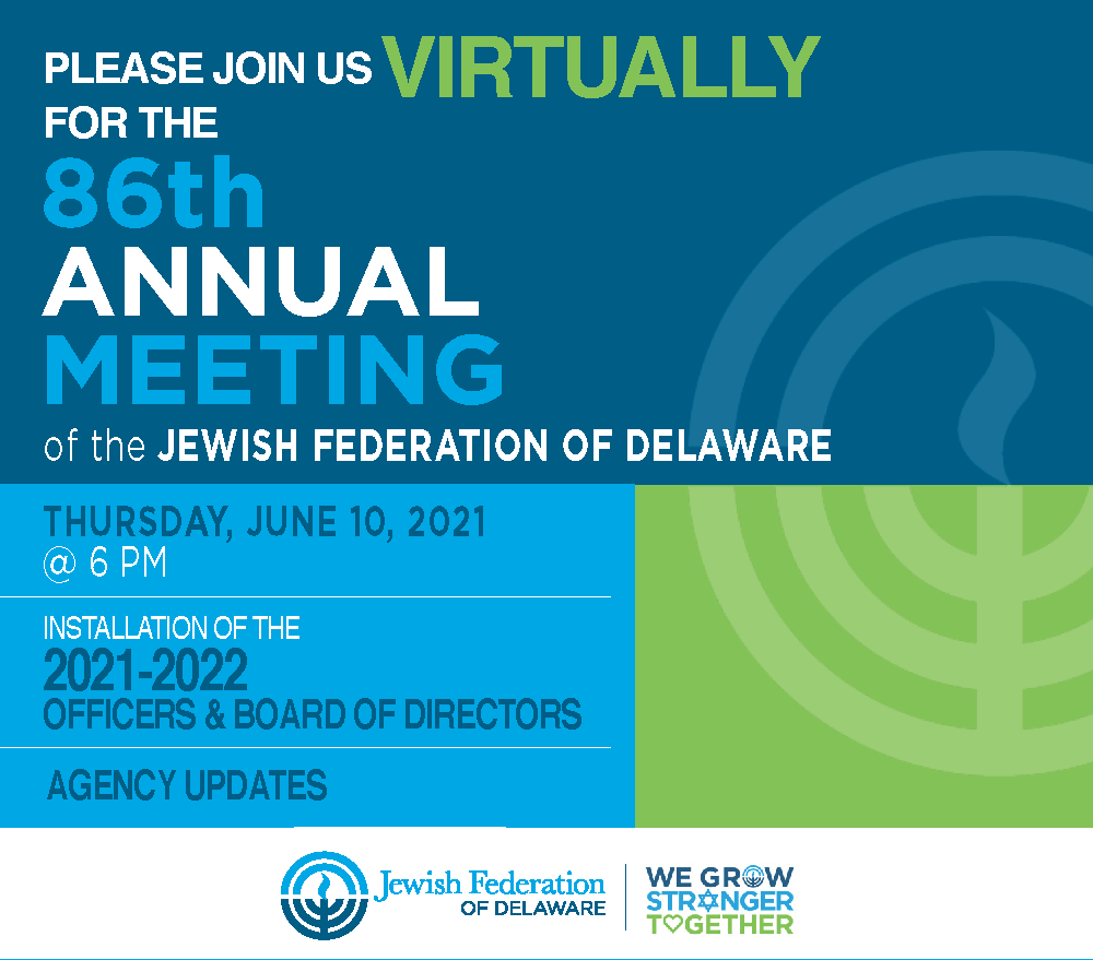 86th Annual Meeting of Jewish Federation of Delaware (Virtual)