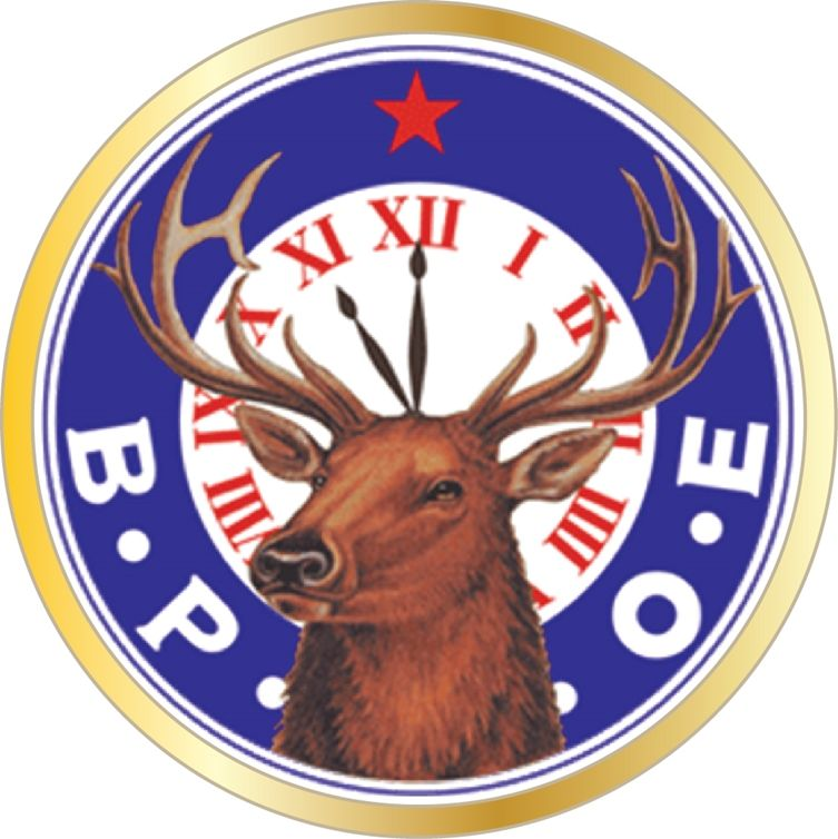 UP-2060 - Carved Wall Plaque of the Emblem of the Benevolent and Protective Order  of  Elks (B.P.O.E.), Artist Painted
