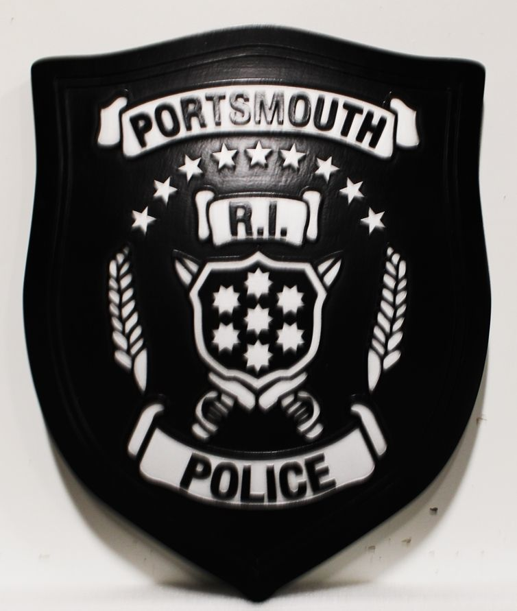 PP-2346 - Carved 2.5-D HDU Wall Plaque of the Shoulder Patch of the Poloce Department of Portsmouth, Rhode Island
