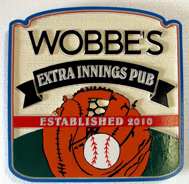 RB27335 - Carved Baseball Glove Sports Bar Sign