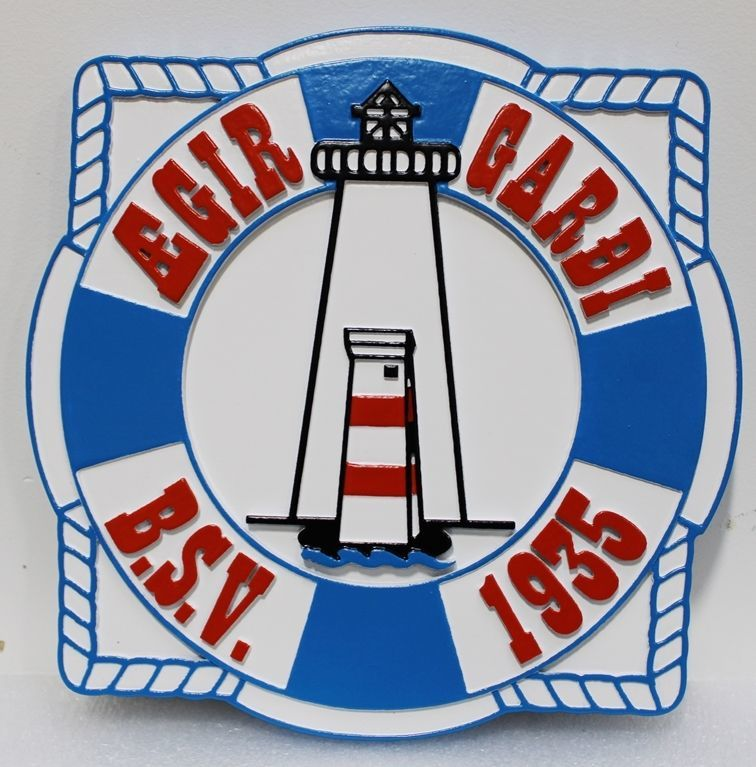 l21436 - Carved 2.5-D Multi-level Relief HDU Lighthouse Sign
