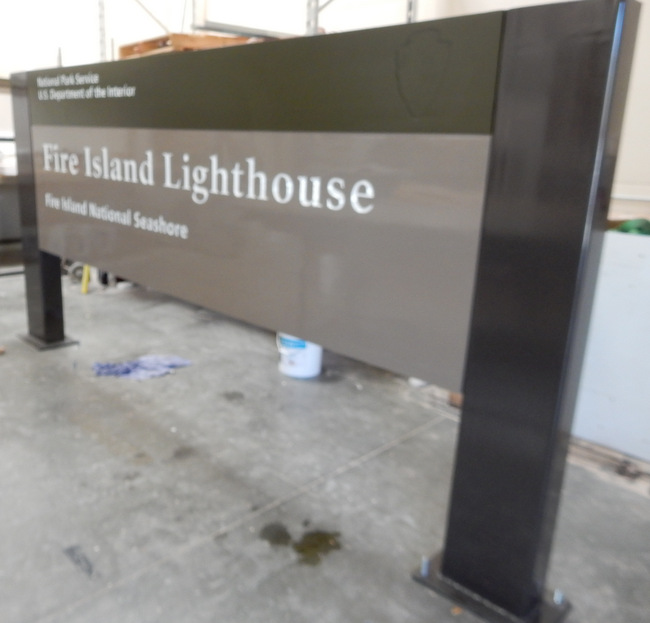 G16012 - Painted Cedar Wood Sign with Steel Posts for Lighthouse at Fire Island National Seashore.