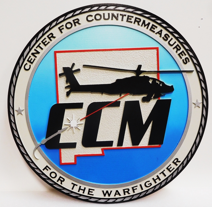 IP-1968 - Carved Plaque of the Seal of the Center For Countermeasures, 2.5-D Artist-Painted