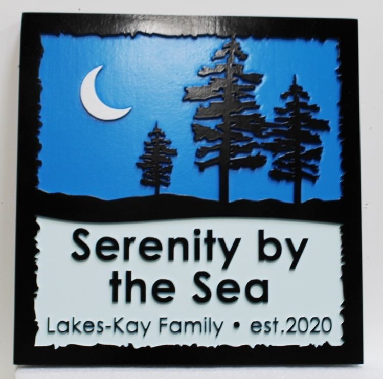 "L21240  - Carved 2.5-D Multi-level Relief HDU Coastal Property Name  Sign ""Serenity by the Sea"", rthe Trees and Moon at Night as Artwork"