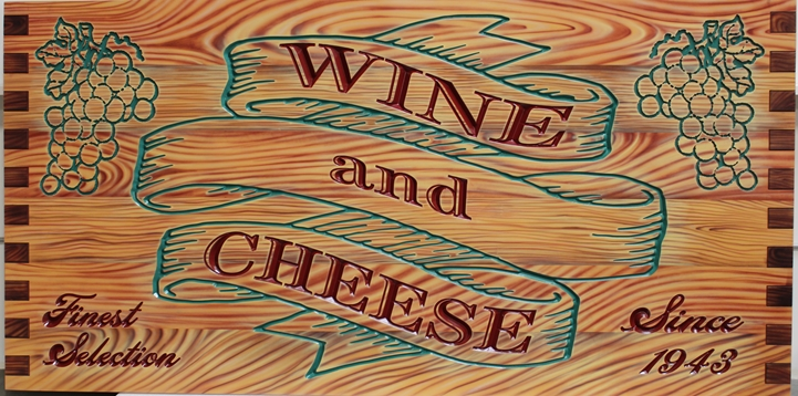 - Engraved  HDU Sign for Wine and Cheese Store,  with Painted Grapes and Faux Wood Grain as Artwork