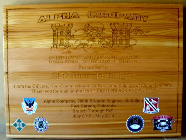V31817A - Engraved Cedar Wall Plaque for Corps of Army Engineers Personnel Award