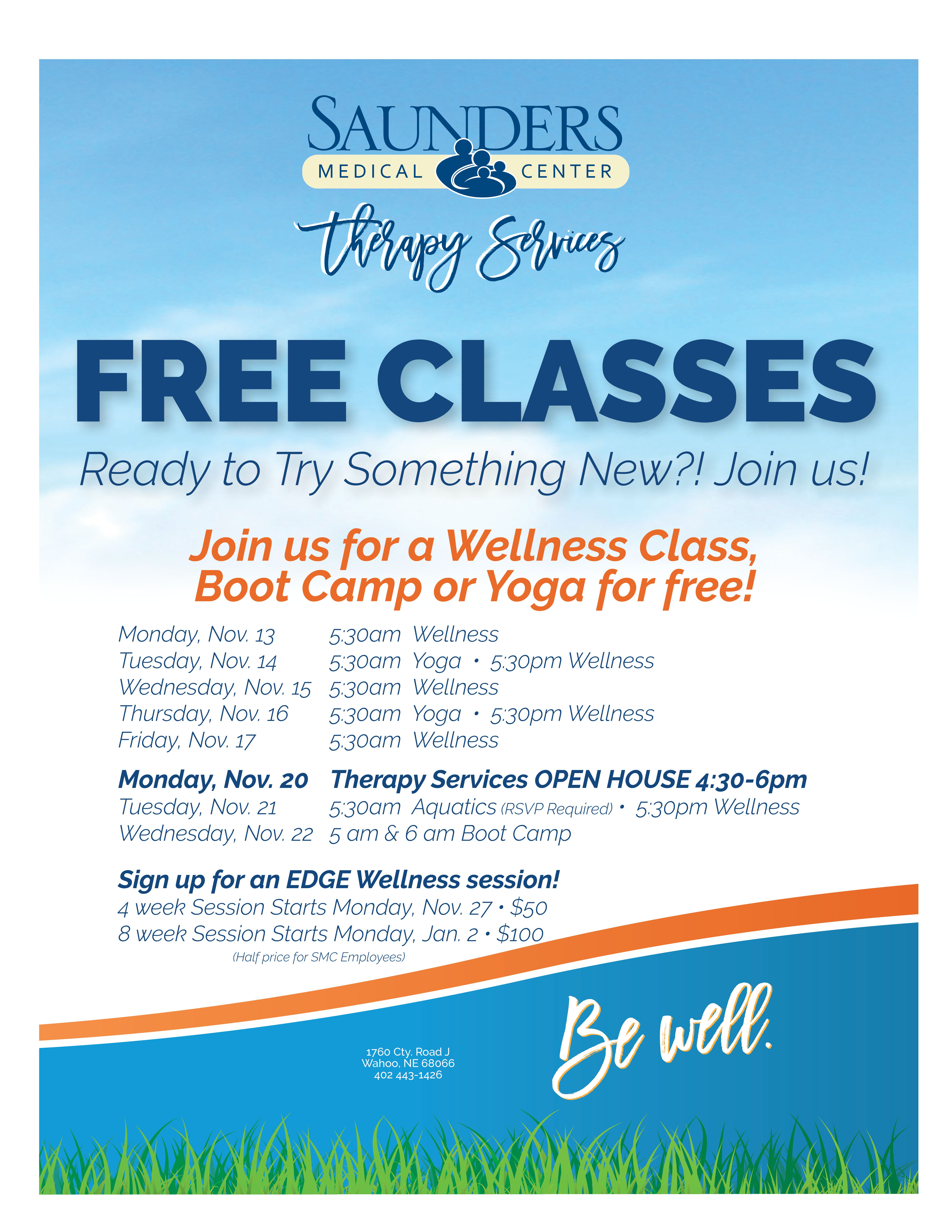 Free Wellness Classes Scheduled