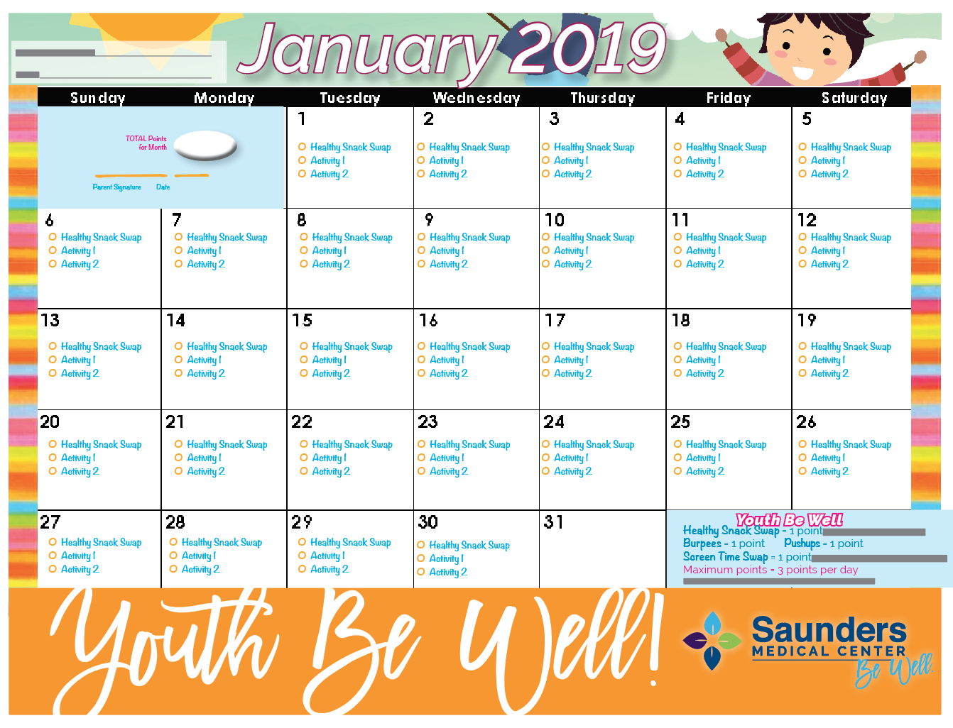 January 2019 YBW Calendar