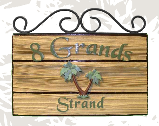 I18929 - Rustic Sandblasted Redwood Sign, with Raised Text and Palm Tree, and Scroll Ironwork Frame