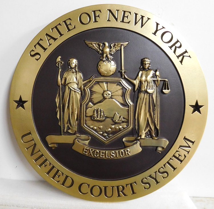 GP-1220 - Carved Plaque of the Seal of the  Unified Court System, State of New York, Painted Metallic Gold