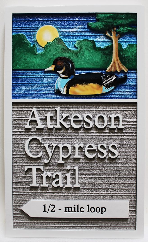 G16100-  Carved  HDU Atkeson Cypress Trail Sign for the Wheeler National Wildlife Refuge  Observation Building