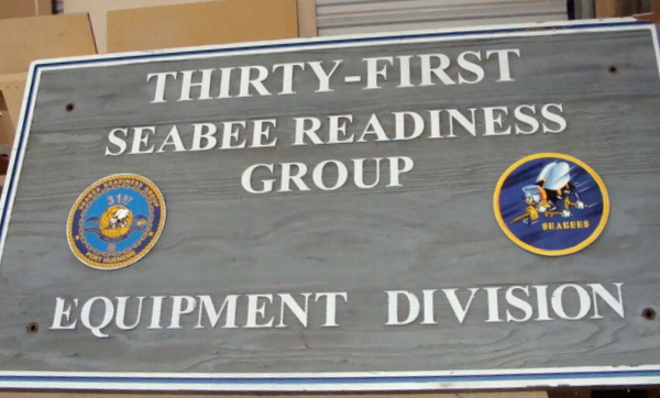 JP-2300 - Carved Plaque of Seabees 31st Readiness Group,  Artist Painted on Cedar Wood