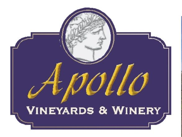 R27076 - Large Entrance Wood Sign for the Apollo Winery and Vineyards