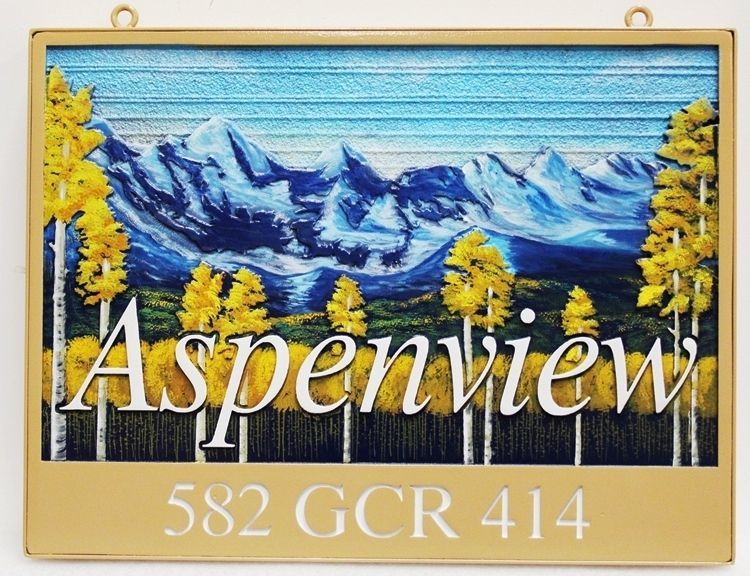 "M22201 - Carved & Sandblasted 2.5-D HDU Cabin Name and Address Sign ""Aspenview"", featuring the Rocky Mountains and an Aspen Grove as Artwork"
