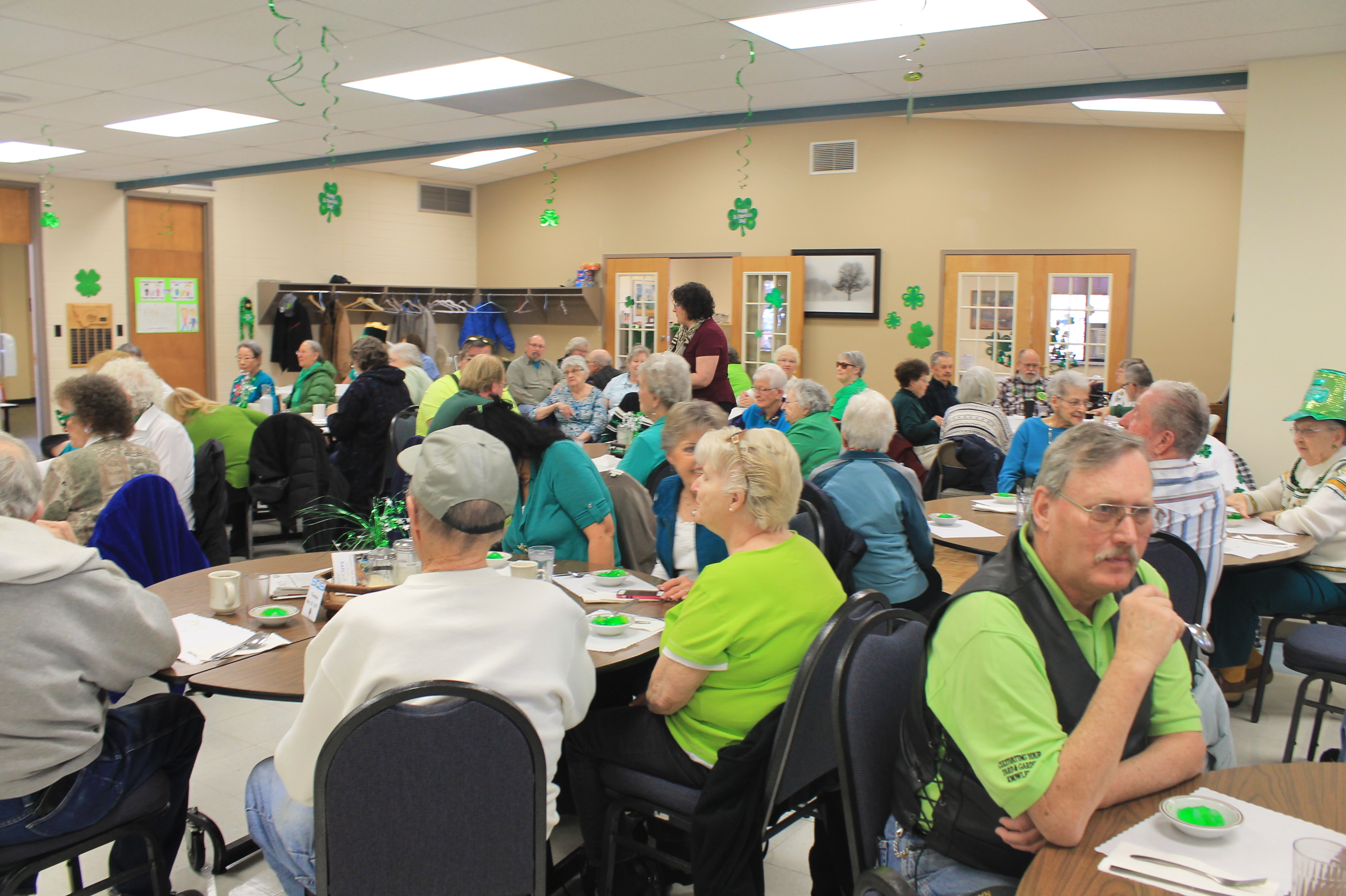 Pictured: A packed senior center on St. Patrick's Day.