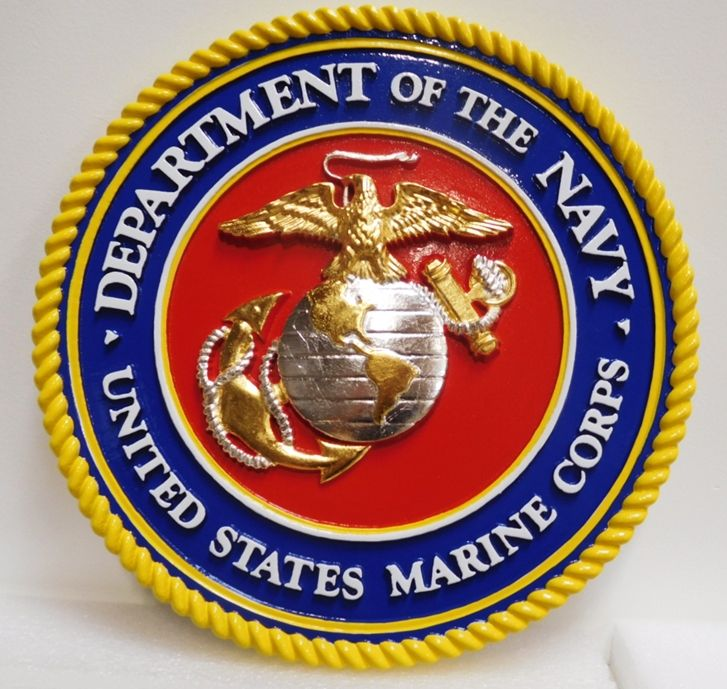 KP-1055-  Carved Plaque of the Great Seal  of the US Marine Corps, 3-D,  Gold and Silver Leaf Gilded