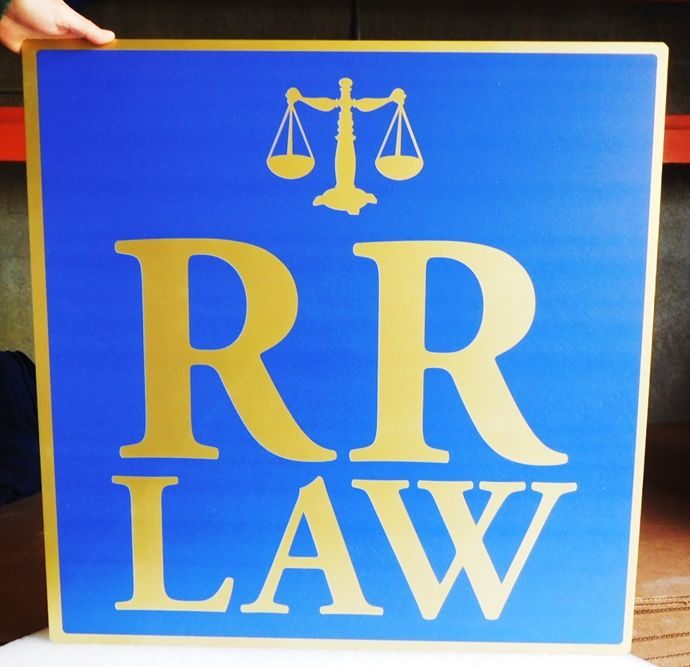 A10044 - Carved, High Density Urethane Sign for a Law Office with Carved Scale of Justice
