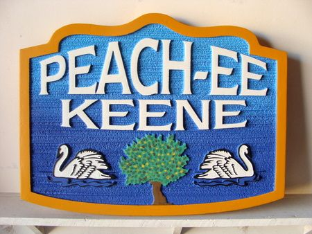 M22822 - Carved and Sandblasted HDU Peachee Keene Lake Home Sign with Two Swans a'Swimming