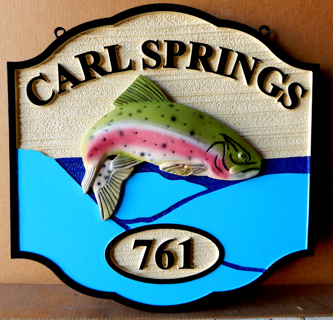 "M22554 - Carved HDU Sign for  Fish Camp ""Carl Springs"" with 3-D Carved Leaping Rainbow Trout"