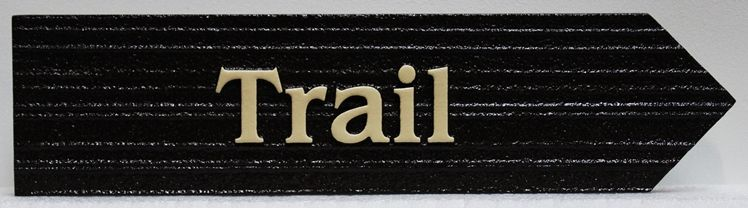 G16134- Carved and Sandb;sasted Wood Grain HDU Trail Sign