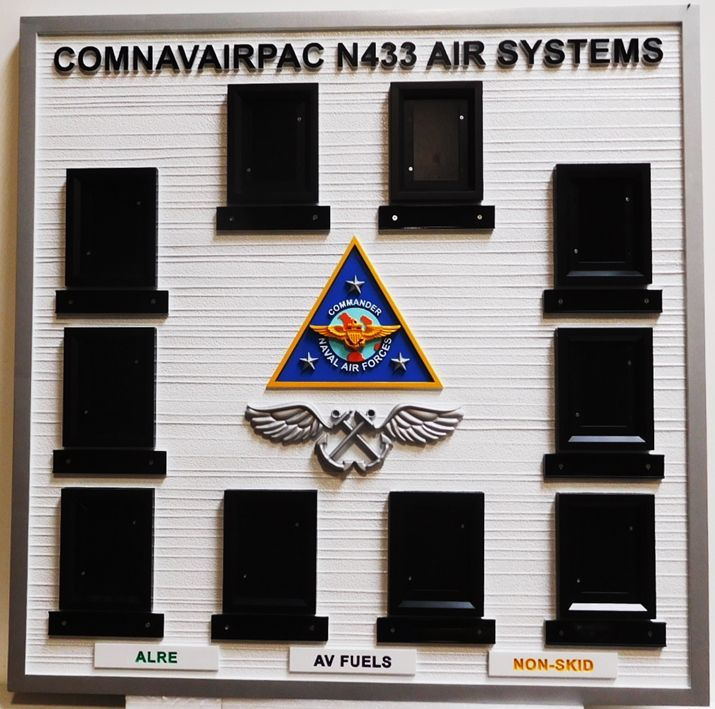 SA1280 - Chain-of-Command  Photo Board  for  COMNAVAIRPAC N433  (reporting to the Commander Naval Air Forces),  Carved from High-Density-Urethane (HDU).
