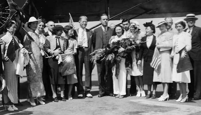 Lee Ya-Ching, 'New China' reception at Wilkinsburgh Airport, PA June 15, 1939 (Cradle of Aviation Museum)