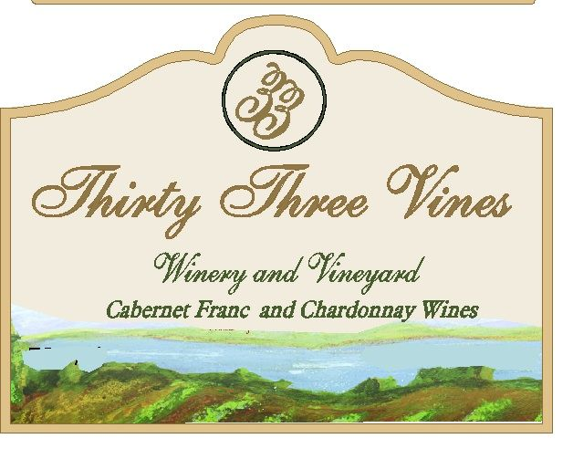 R27027 - Elegant Carved Sign for Thirty-Three Vines Winery and Vineyard, with Painted Vineyard Scene