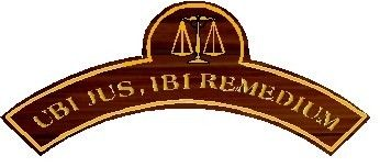 A10930 - Carved Mahogany Wall Plaque over Curved Archway in Law School, Ubi Jus Ibi Remedium