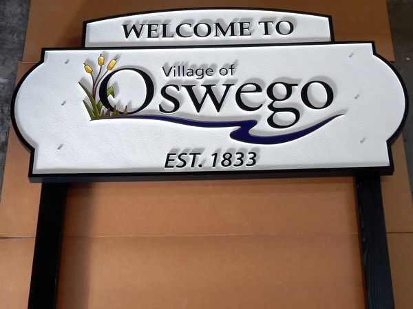 F15140 - Large Carved and Sandblasted HDU Entrance and Welcome Sign between Two Posts for the Village of Oswego, Illinois