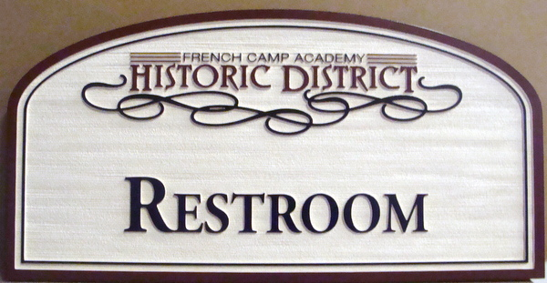 F15447 - Sandblasted, Carved, Wood Look HDU Sign for a Restroom in an Historic District