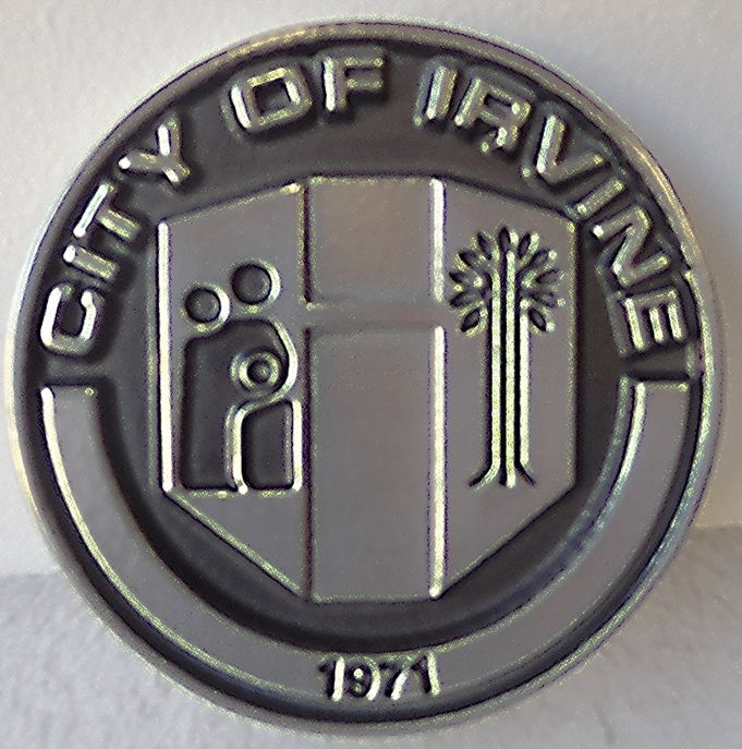 DP-1570 - Carved Plaque of the Seal of the City of Irvine, California , Aluminum-Plated