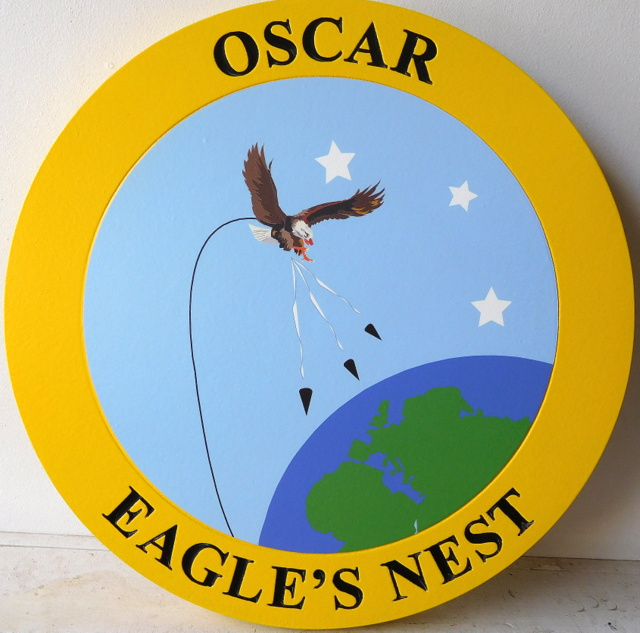 "JP-2100 - Carved Plaque of Seal  of  Oscar ""Eagle's Nest"",   Artist Painted"