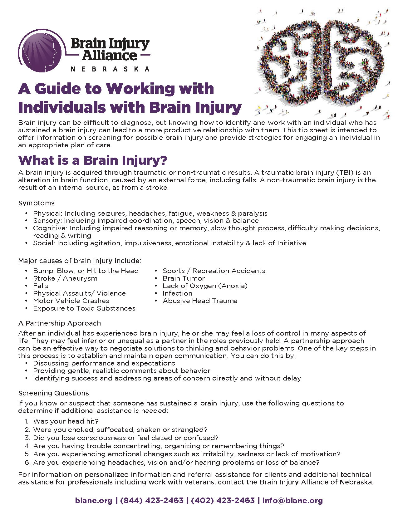 A Guide to Working with Individuals with Brain Injury