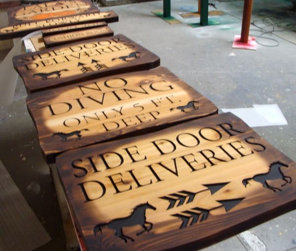 P25218 - Rustic Carved Cedar Signs for Equestrian Facility