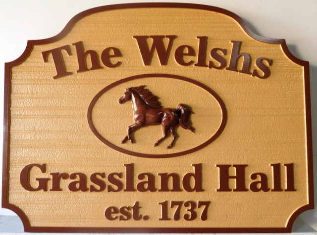 P2534 - Carved HDU Sign Sandblasted in a Wood Grain Pattern for a Horse Farm