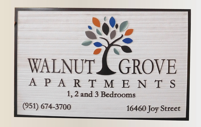 "K20301  - Carved HDU Sign,  for the ""Walnut Grove"" Apartments  with Wood Grain Sandblasted Background"