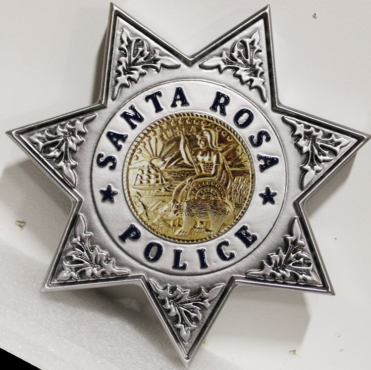 PP-1804 - Carved 3-D HDU Plaque of Star Badge of Santa Rosa Police Department