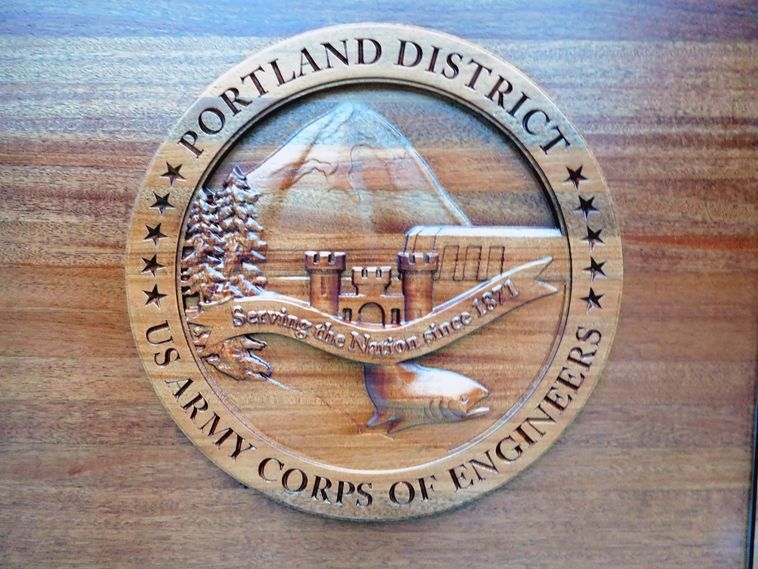 MP-2760 - Carved Plaque of the Insignia of the US Army Corps of Engineers (USACE) Portland District,  Mahogany Wood