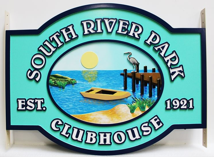 M22389 - Carved Entrance Sign to the South River Park Clubhouse, with a River Scene with boat, Dock, and Bird as Artwork