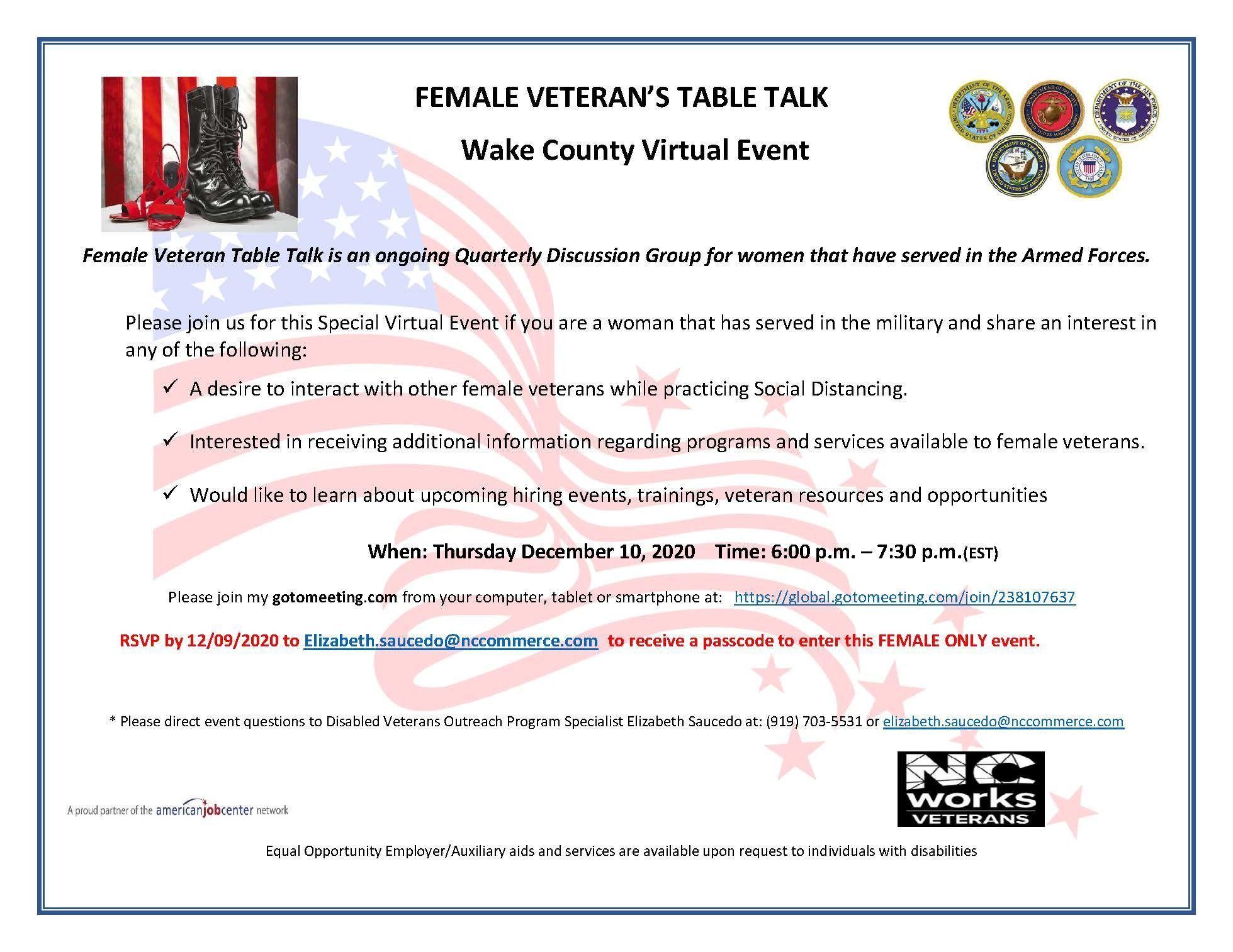 Female Veteran's Table Talk