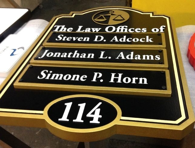 A10689 - Attorney Office Directory Sign with Removeable Nameplates